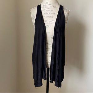 Light weight black boho draped vest